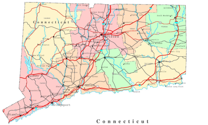 Connecticut state map
