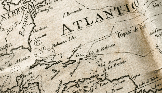 Vintage map of the caribbean.
