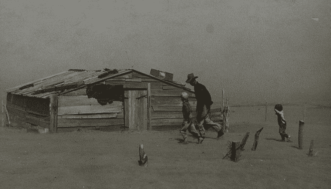 Father and two sons walking during the Dust Bowl.