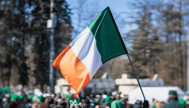 Irish flag in a Saint Patrick's Day parade.