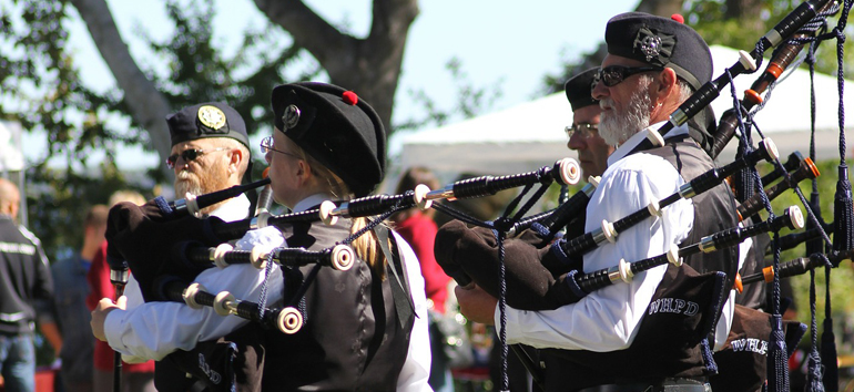 men playing bagpipes