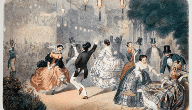 19th century painting of a dance in paris