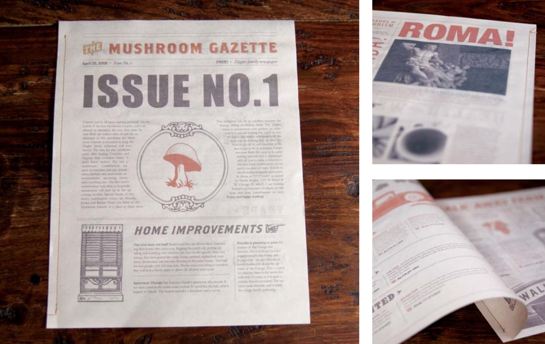 The Mushroom Gazette, the family newsletter for the Ziegler family.