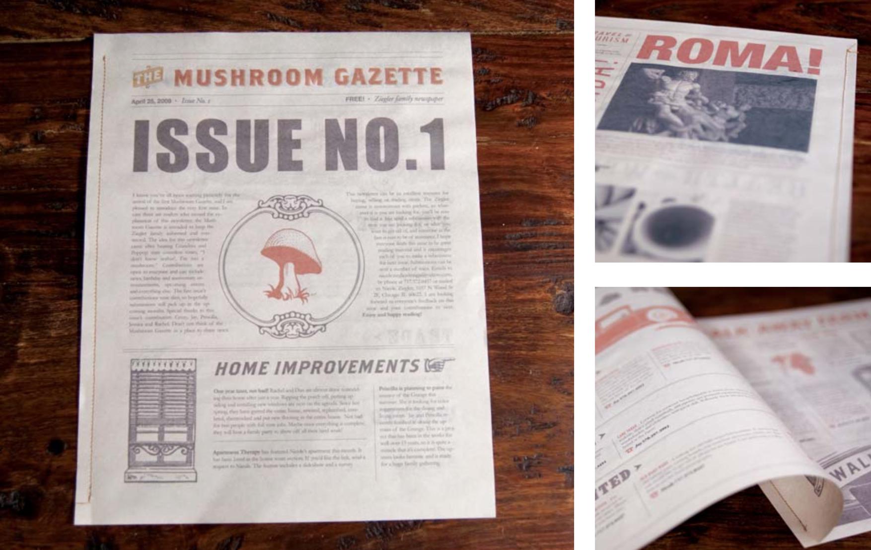 The Mushroom Gazette, the family newsletter for the Ziegler family.