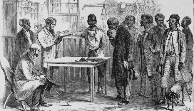 Illustration of Freedmen lining up to register to vote in 1867.