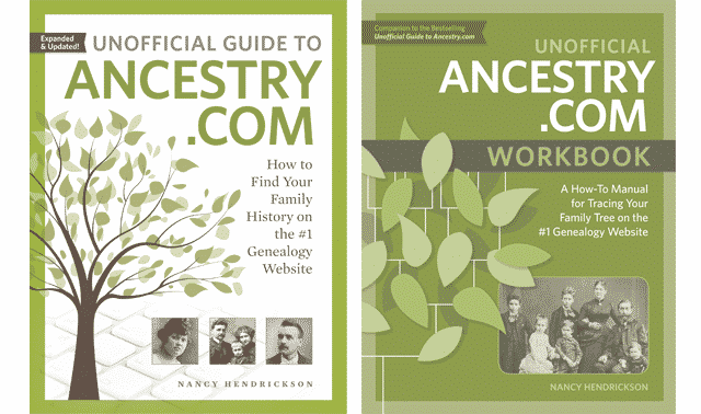 Unofficial Guide to Ancestry.com and workbook cover images.