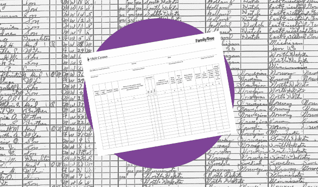 A census worksheet for the 1860 census.