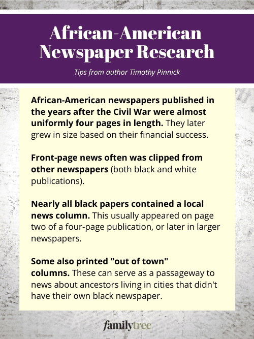 Tips for African American newspaper research.