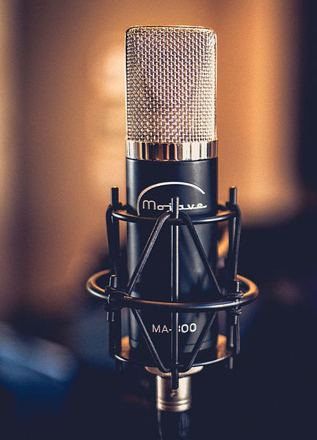 Microphone in a recording studio.