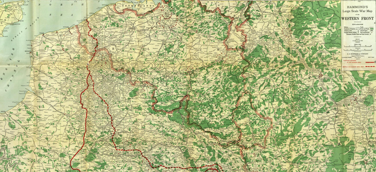 View the Western Front of World War I with this map of the famous Christmas truce.