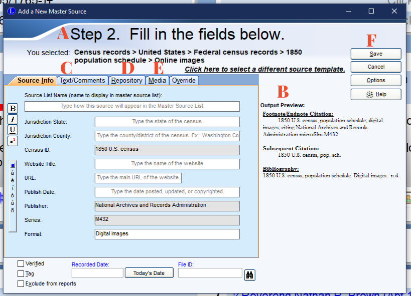 Legacy Family Tree Software 9.0 source citation window.