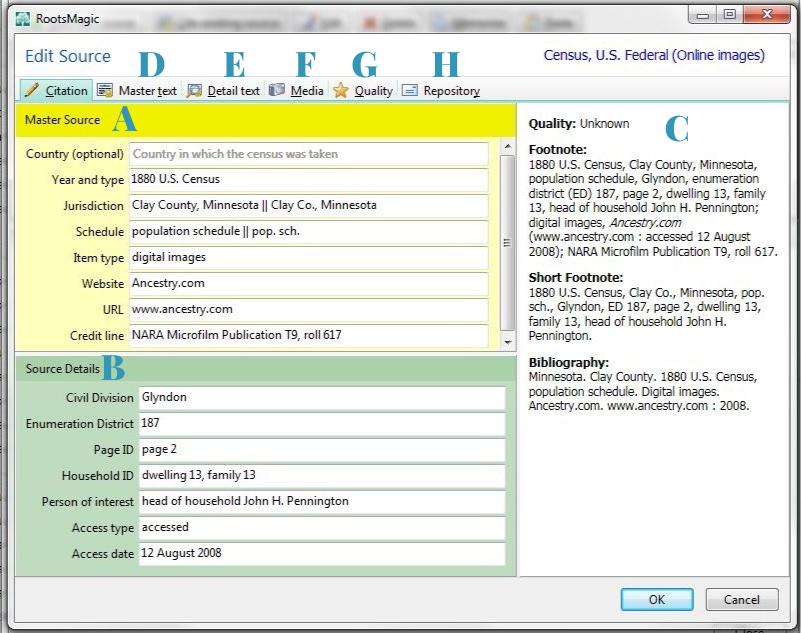 RootsMagic 7 source citation window.