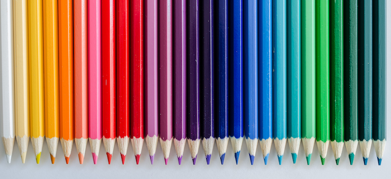 Colored pencils lined up.