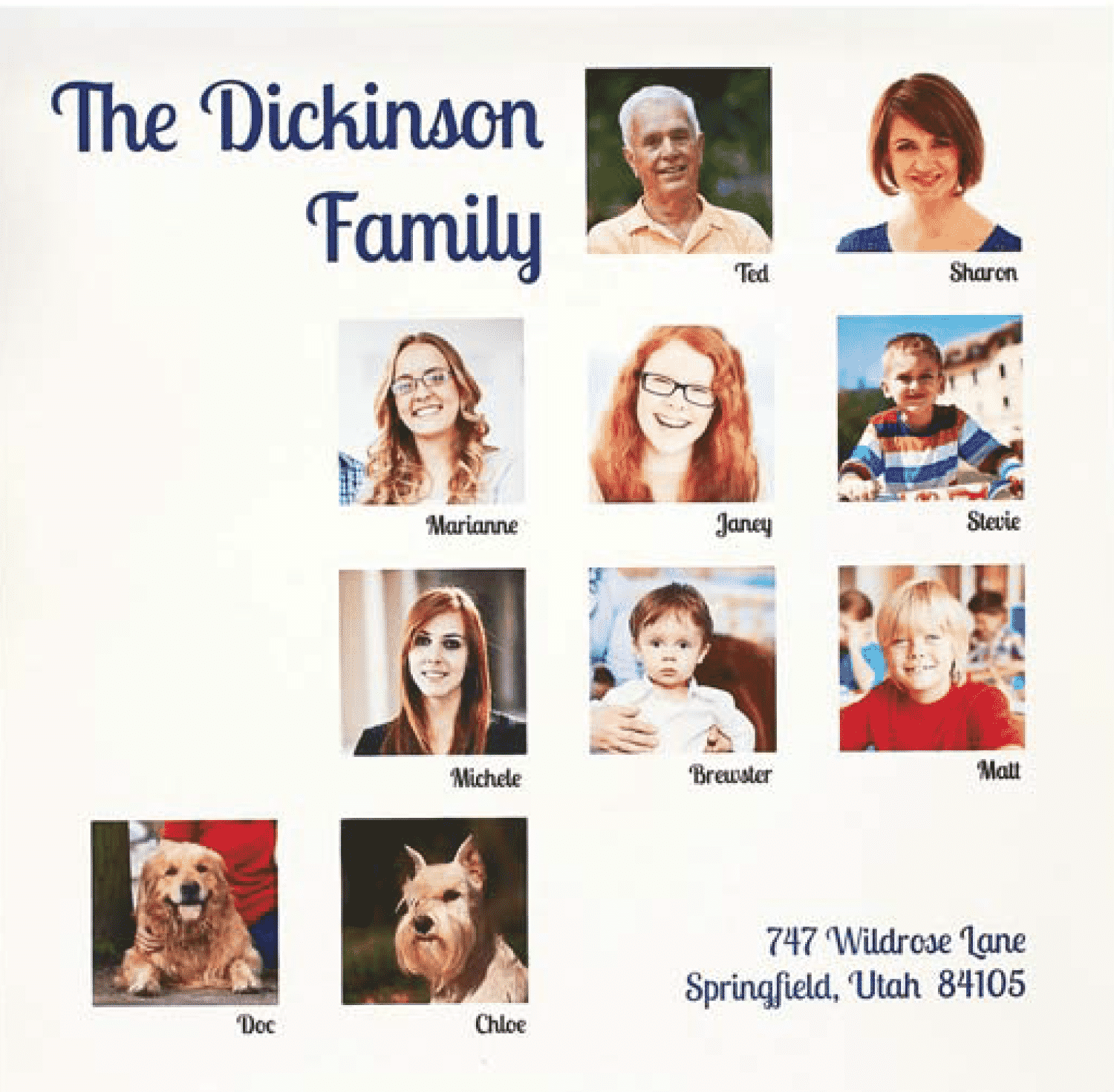 Family faces collage photo project.