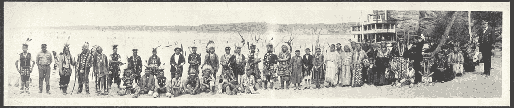 Historical photo of Great Plains tribe members.