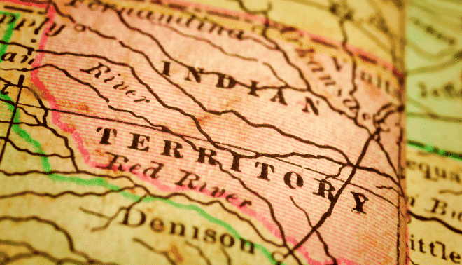 Vintage map of Indian Territory