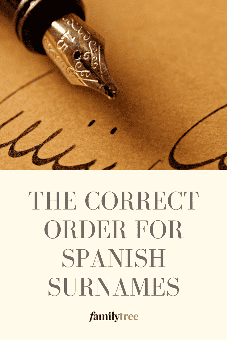Pinterest image, how to order spanish surnames.