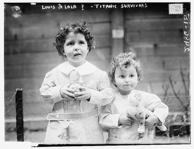 Black and white photo of two young boys who were orphaned by the Titanic's sinking.