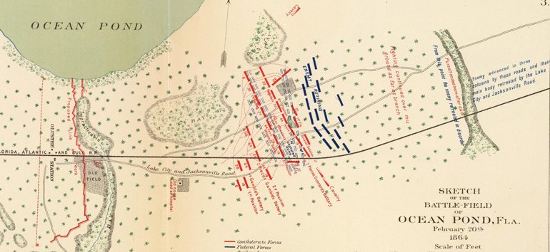 Learn about the Battle of Olustee, a skirmish fought on Florida soil, with this Civil War map.