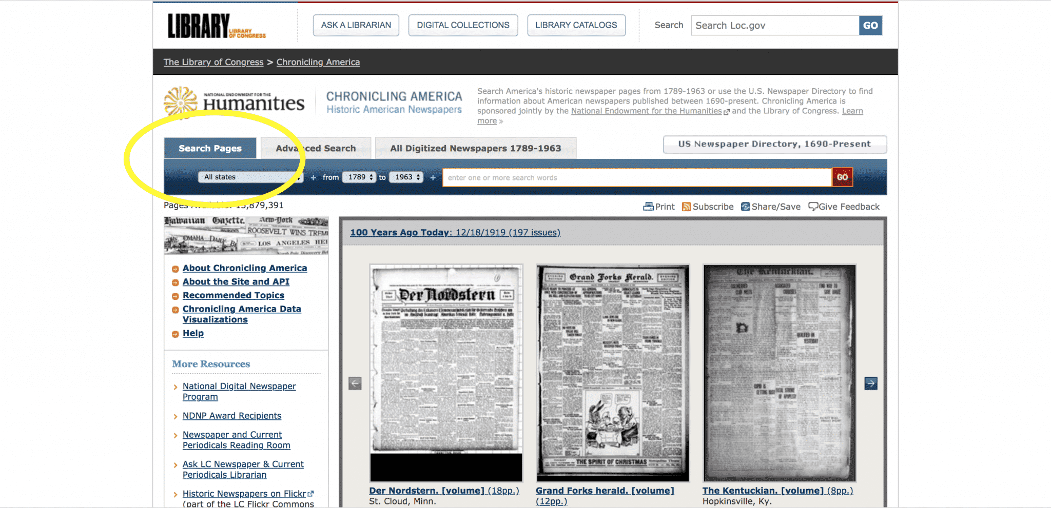 Using the Search Pages tab on Chronicling America's homepage.