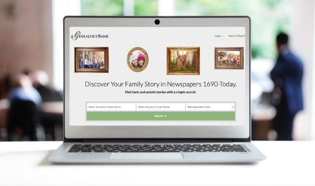 Laptop computer showing GenealogyBank homepage