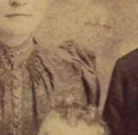 fahion clues in old family photos: peaked shoulder of dress