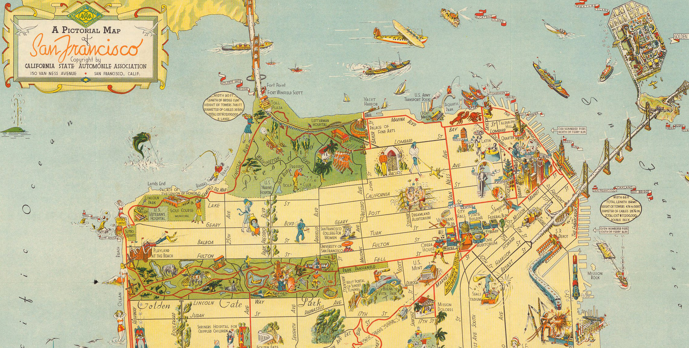 Gaze into the City by the Bay's past with this historical map of San Francisco.