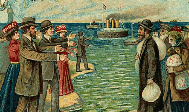Vintage postcard depicting Russian Jews standing on European shores as their Americanized relatives beckon.