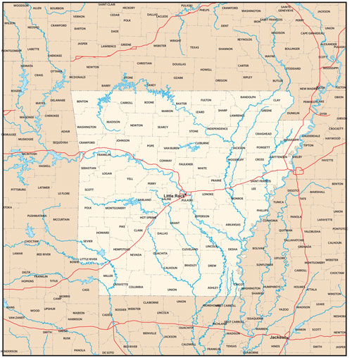 Arkansas state map with county outlines