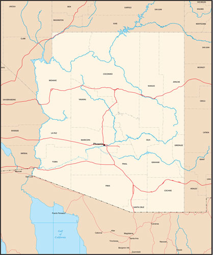 Arizona state map with county outlines
