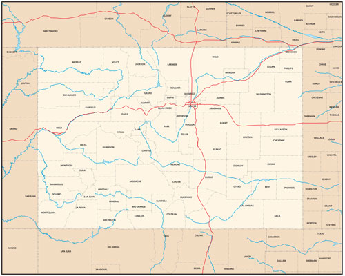Colorado state map with county outlines