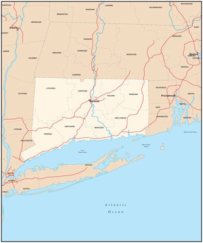 Connecticut state map with county outlines