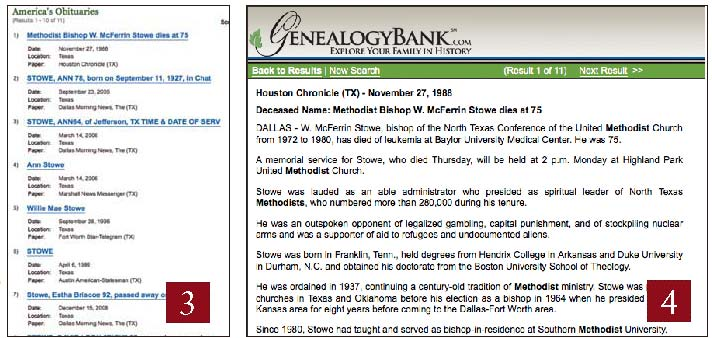 Obituary search results screenshot on GenealogyBank.