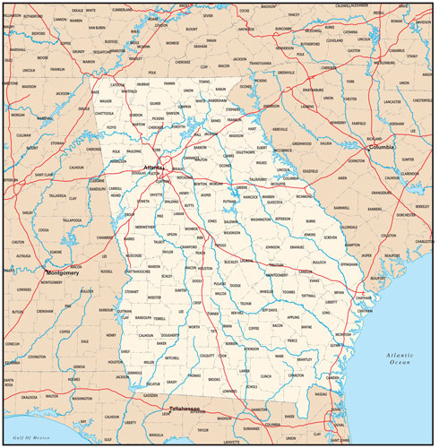 Georgia state map with county outlines