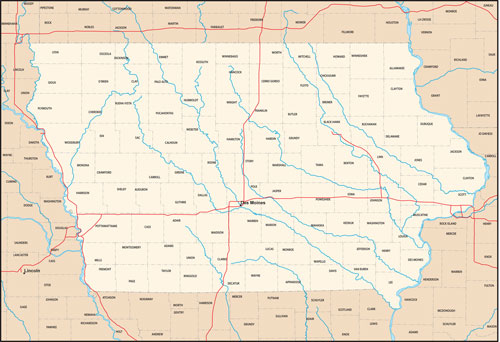 Iowa state map with county outlines