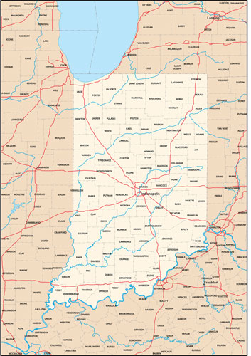 Indiana state map with county outlines
