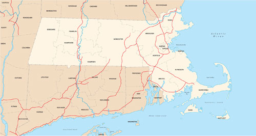 Massachusetts state map with county outlines