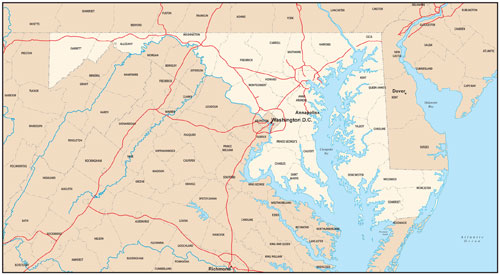 Maryland state map with county outlines