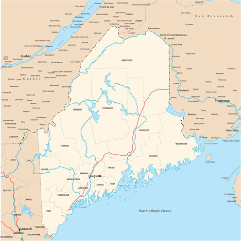 Maine state map with county outlines