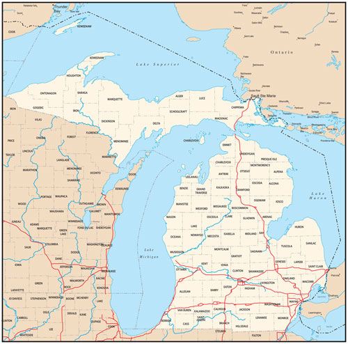 Michigan state map with county outlines
