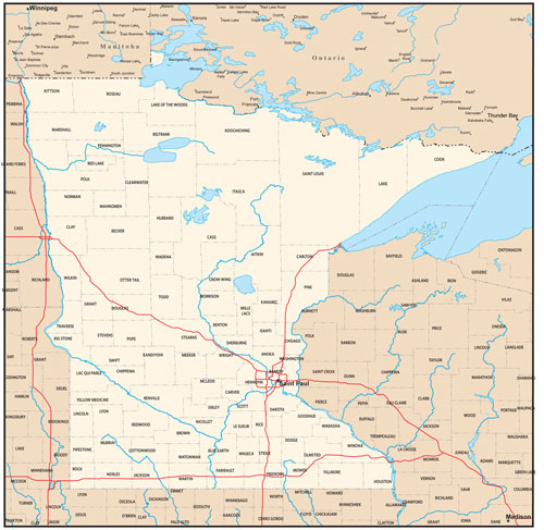 Minnesota state map with county outlines