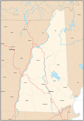 New Hampshire state map with county outlines