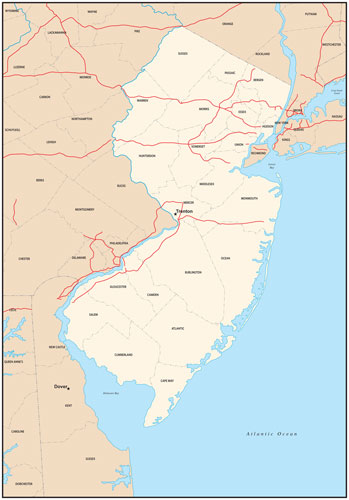 New Jersey state map with county outlines