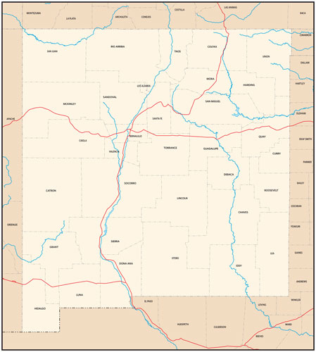 New Mexico state map with county outlines