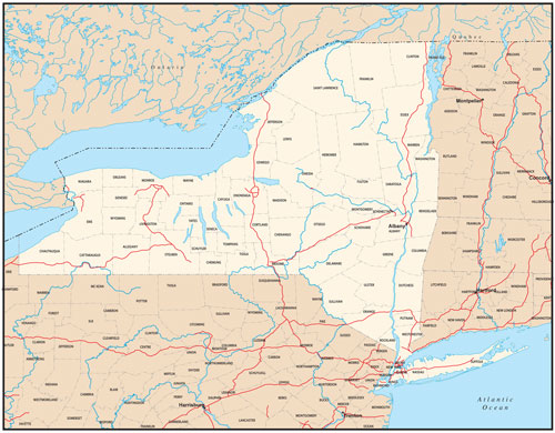 New York state map with county outlines