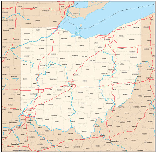 Ohio state map with county outlines