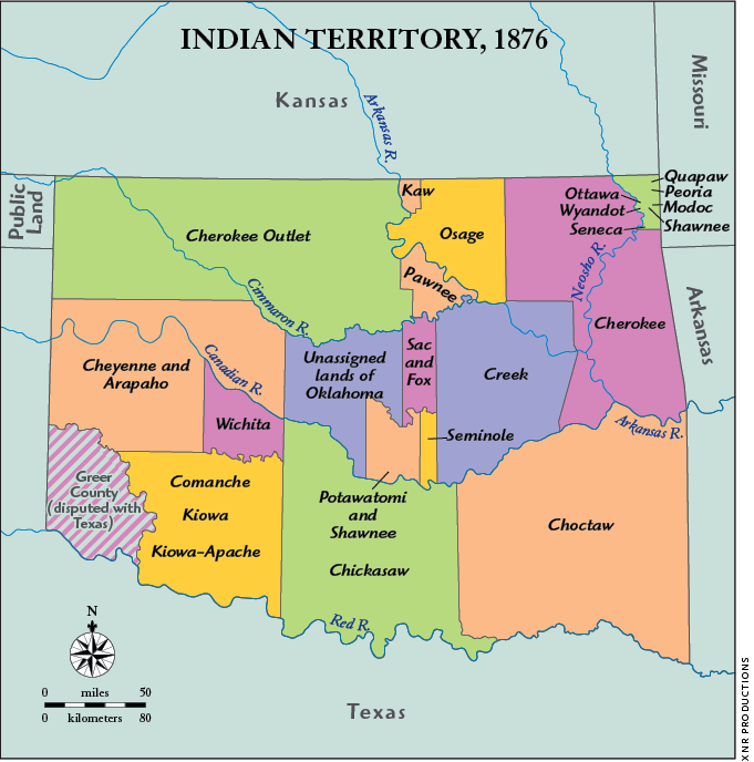 Map of Indian Territory in Oklahoma (1876)