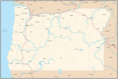Oregon state map with county outlines