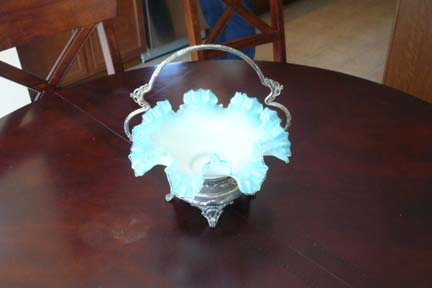 Victorian Glass and Silver Bridal Basket
