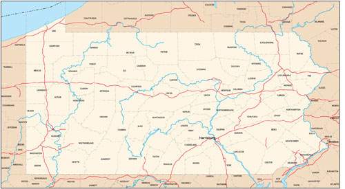 Pennsylvania state map with county outlines